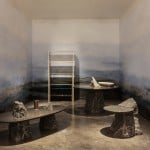 Stone-powder wallpaper features in Fragments exhibition at Design Miami