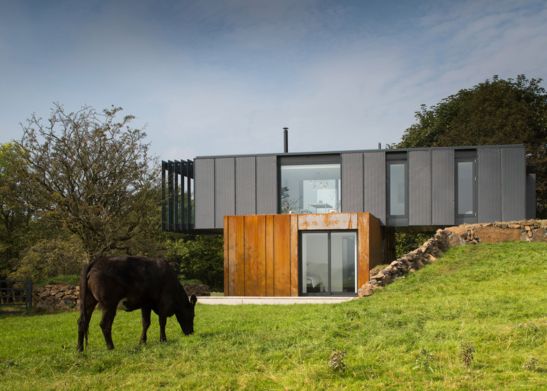 The Grillagh Water House by architect and farmer Patrick Bradley is made from four stacked shipping containers