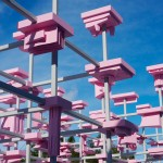 Harvard Students create pink pavilion of 200 elevated models outside Design Miami