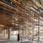 """March Studio created Hotel Hotel lobby and bar by recycling """"thousands of pieces of timber"""""""