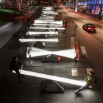 Designers create winter installation for Montreal featuring 30 glowing seesaws