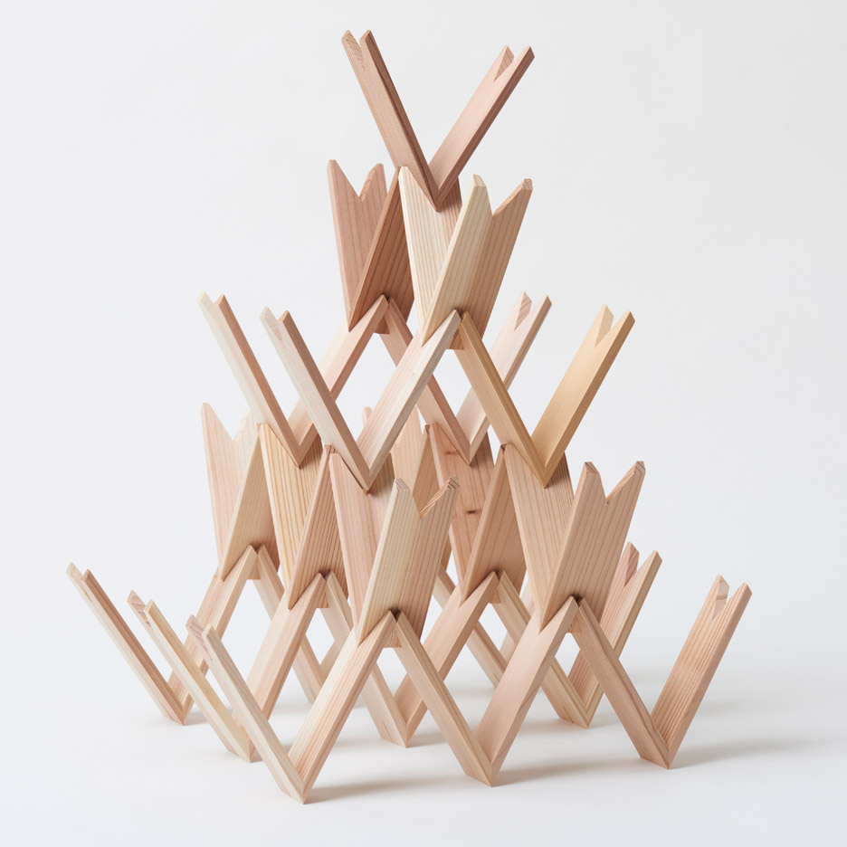 kengo kuma s building blocks can be stacked to create