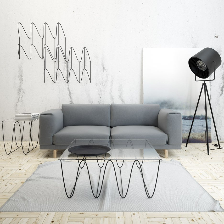 Max Voytenko's Kroll shelves and tables have matching zigzag elements