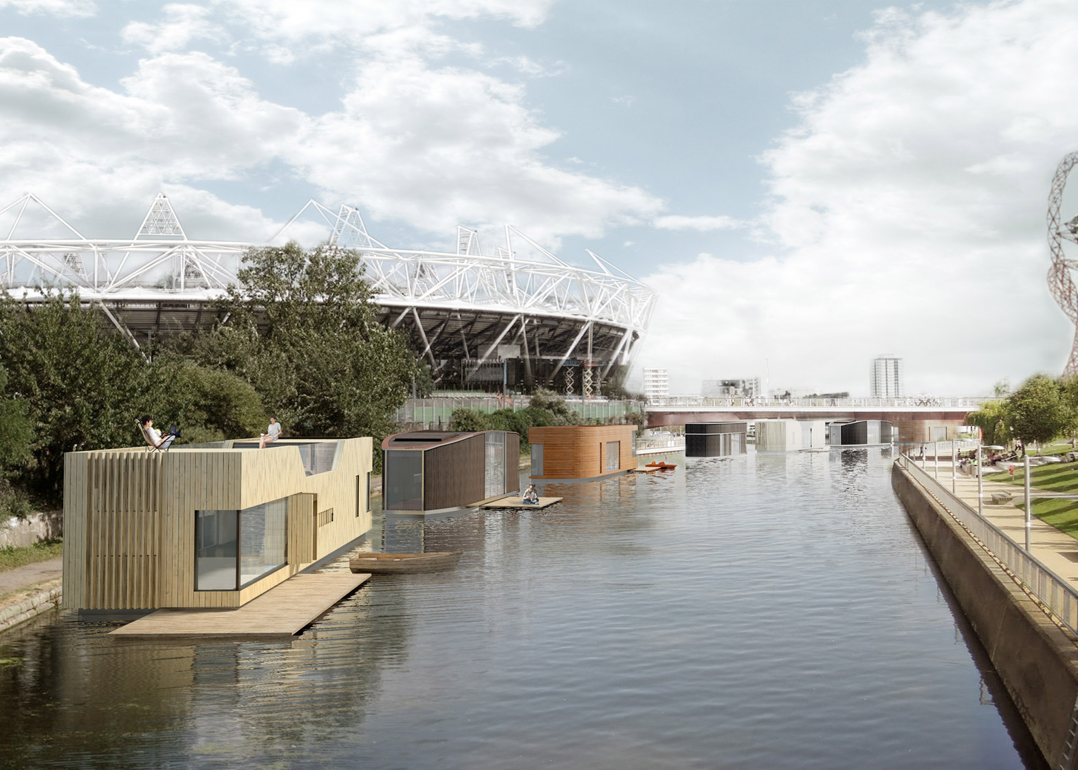 Baca Architects' proposal for prefabricated amphibious housing on London's canals