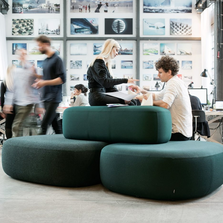Modular Ø Sofa by Kilo Design is formed of three lozenge-shaped cushions