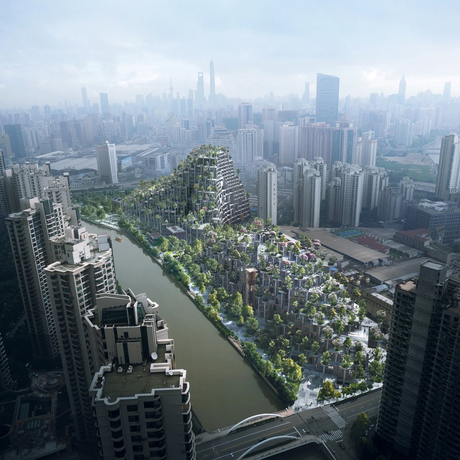 "Heatherwick reveals Shanghai complex envisaged as ""two tree-covered mountains"""