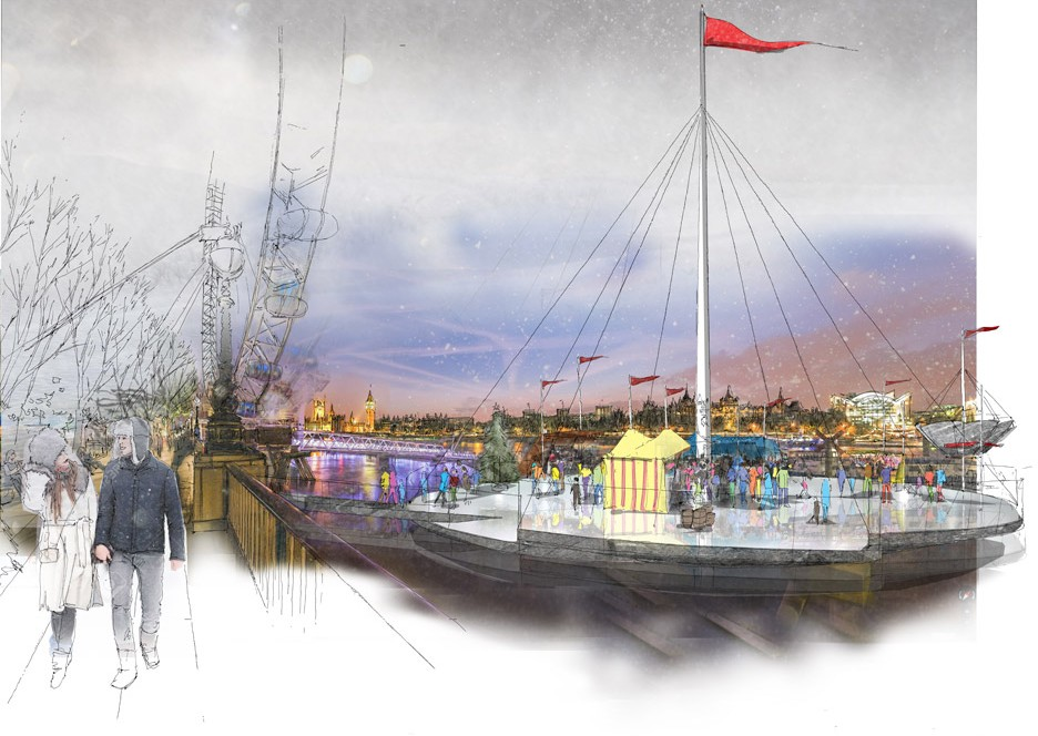 Flower-like ice rinks proposed for London's River Thames