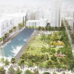 """Agence TER and SALT Landscape Architects' proposal has """"folding down"""" exterior walls to better connect the park to its surroundings"""