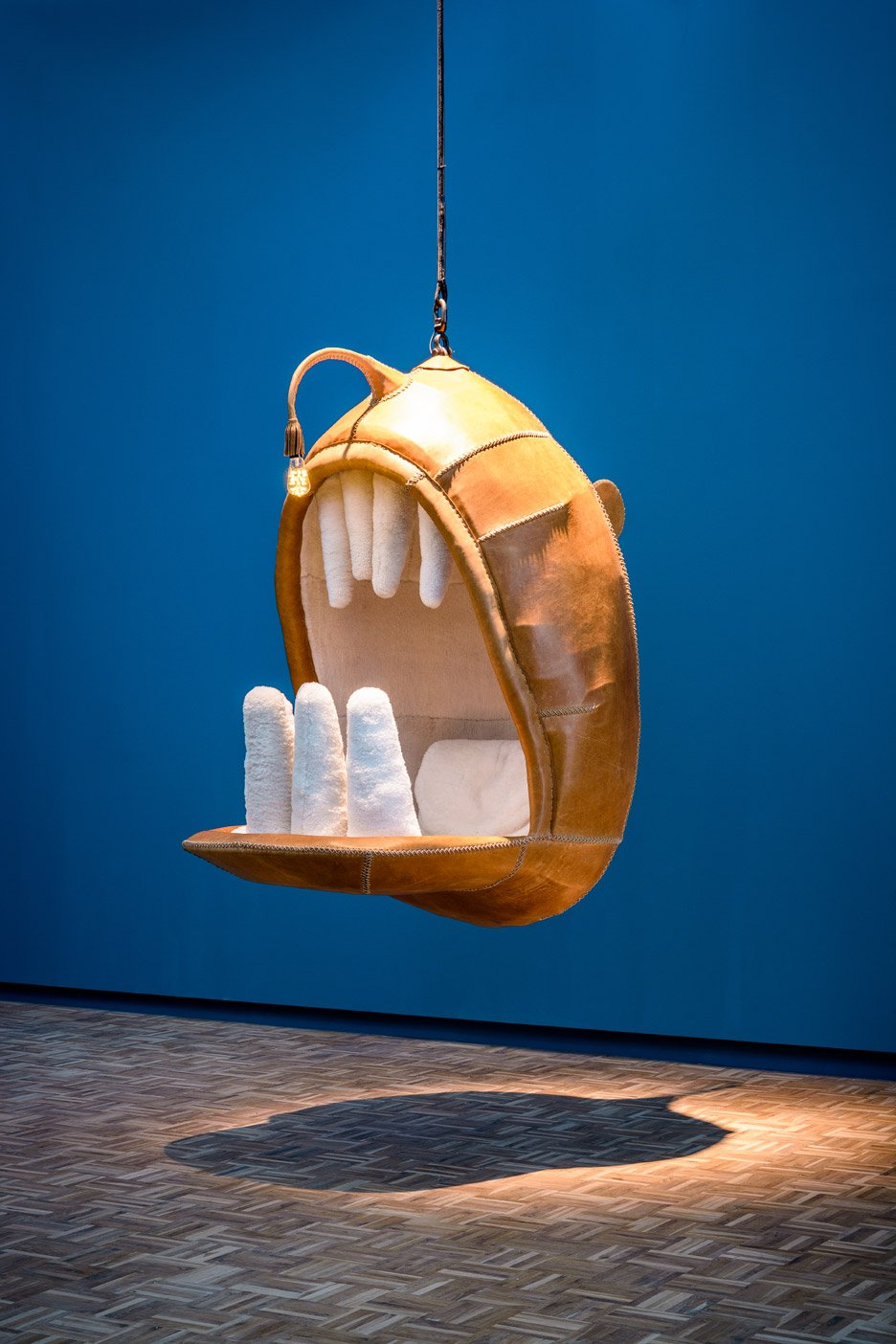 Porky Hefers Fiona Blackfish Is A Killerwhaleshaped Chair - Anglerfish chair with a big lamp
