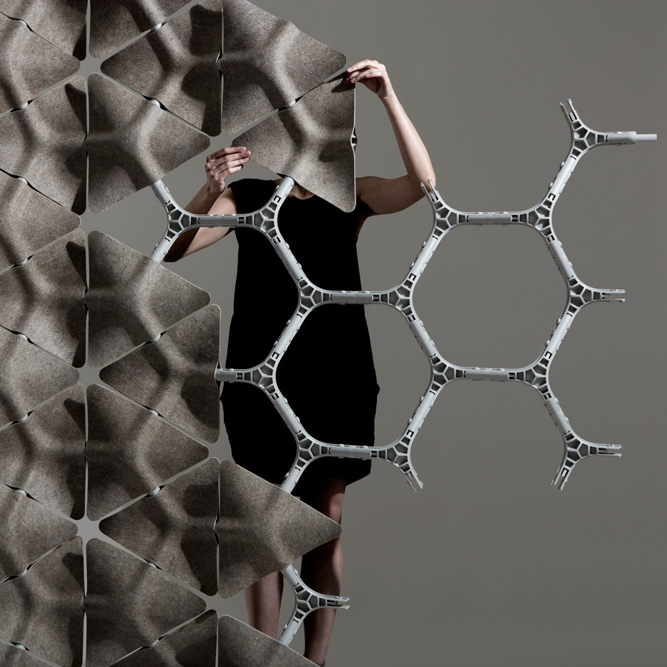 Layer uses large hemp tiles to create tessellating Scale partition system