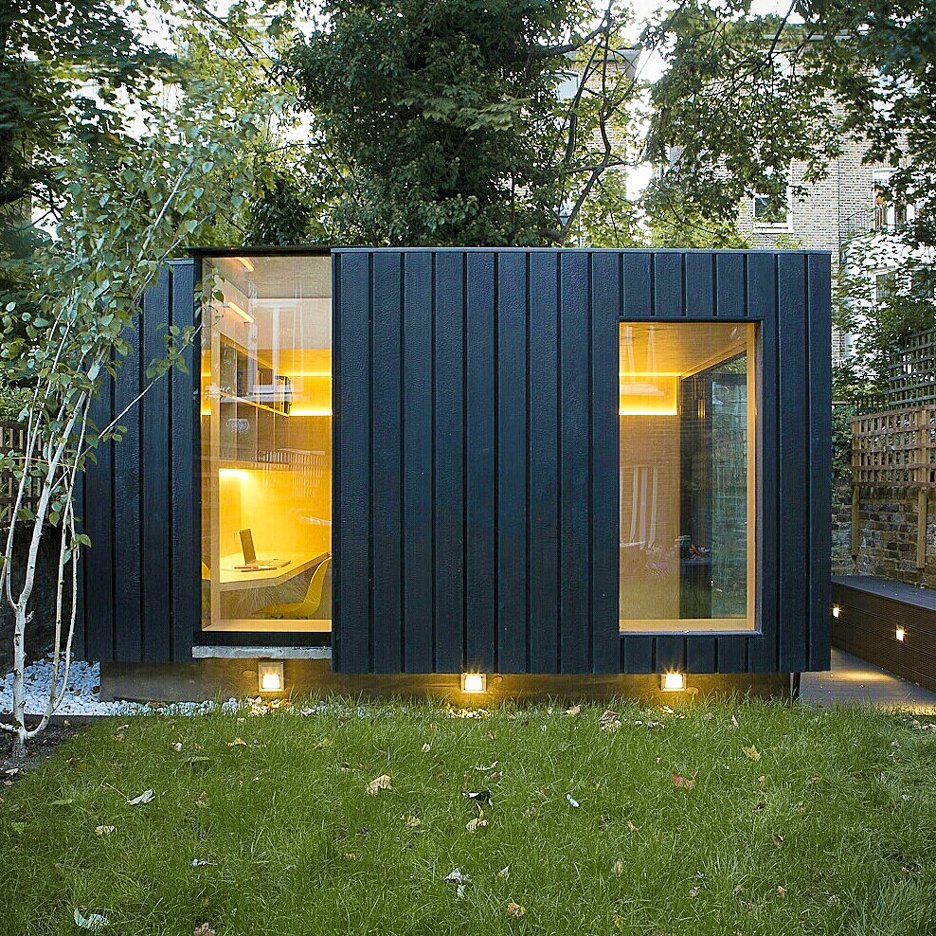 See charred wood facades on dezeen 39 s new pinterest board for Timber garden rooms