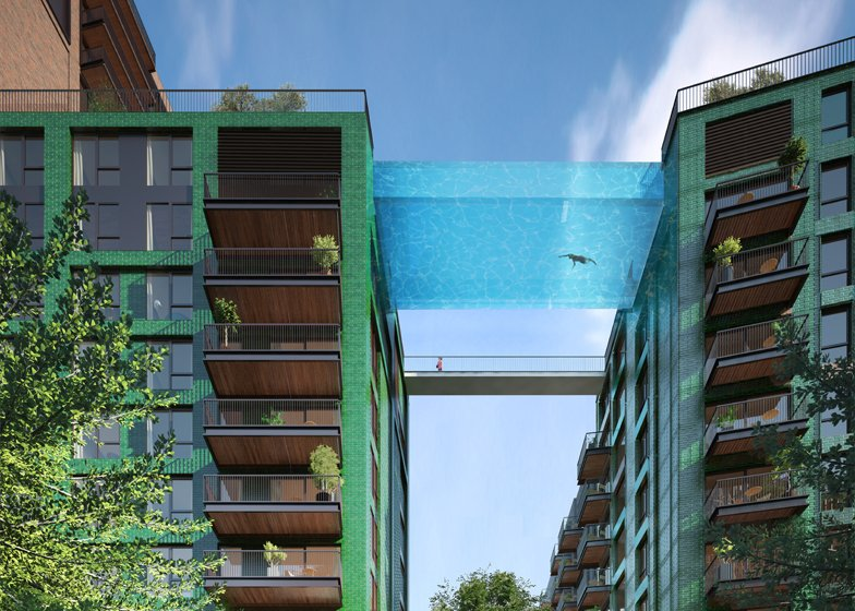 The sky pool by Arup Associates is designed to connect two blocks of housing 10 storeys above the ground