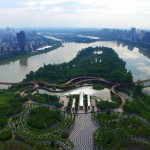 "Terraces of plants in Yanweizhou Park ""control floods in an ecological way"""