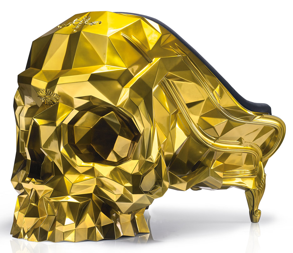 24 carat gold Skull armchair by Harow furniture