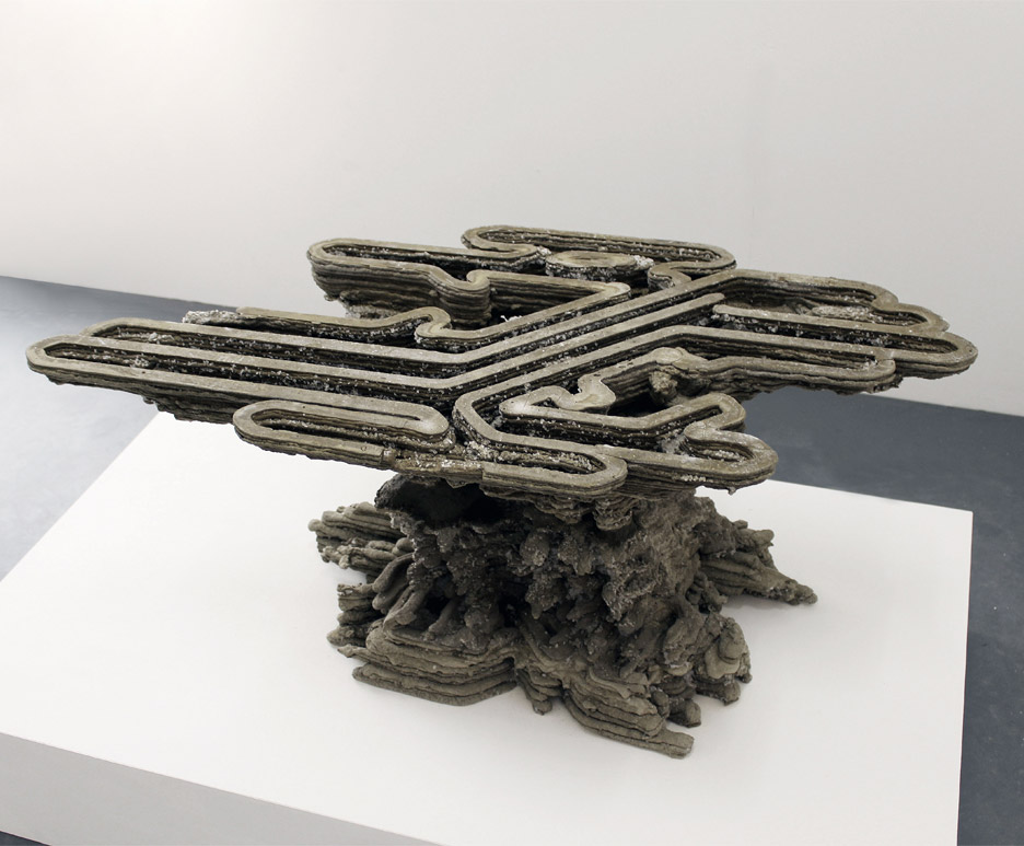 Fossilised 3D printed concrete project by Amalgamma