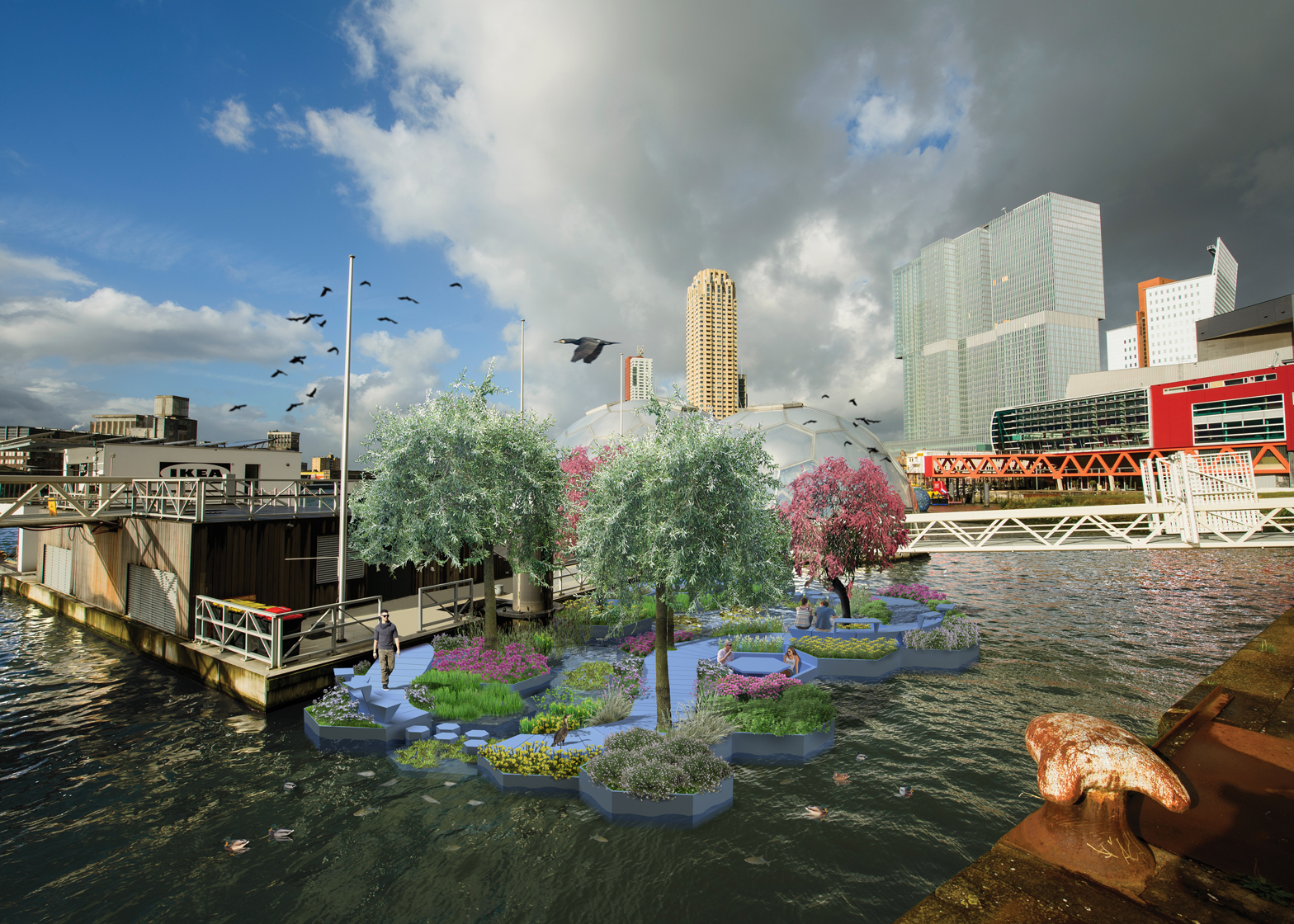 Architect Ramon Knoester is leading a project to build a floating park out of recycled sea plastic