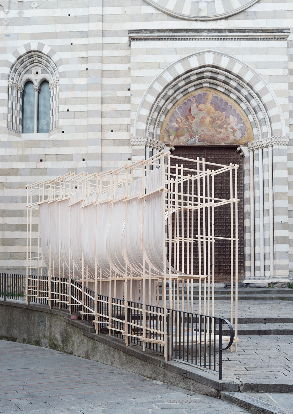 Bent installation for Genoa's New Generations festival resembles billowing sails