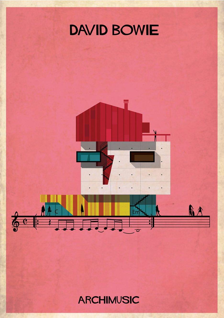 David Bowie Archimusic illustration by Federico Babina