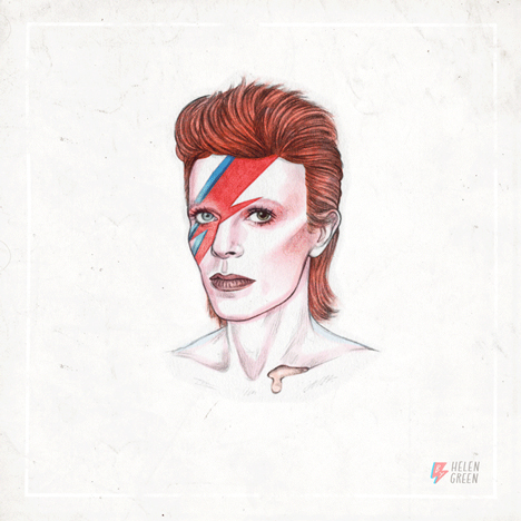 David Bowie illustration by Helen Green