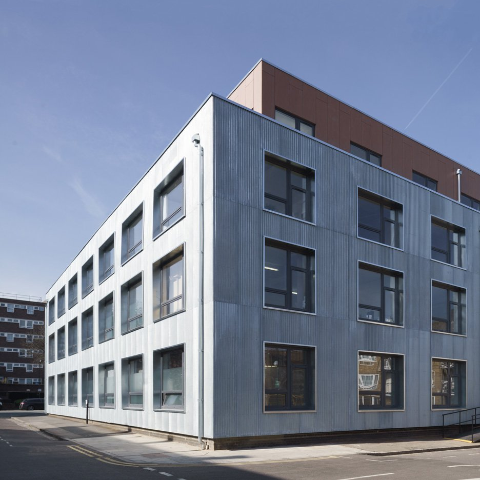 Sarah Wigglesworth adds new metal skin to London factory containing artists' studios
