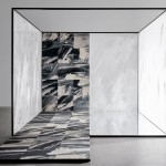 The Wash carpet by Tom Dixon features painterly strokes of grey, white and black