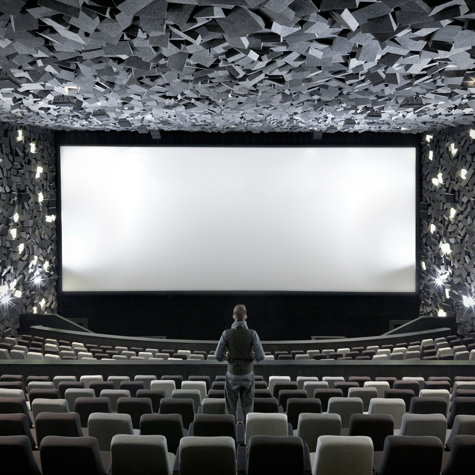 One Plus Partnership's cinema interior resembles the aftermath of an explosion