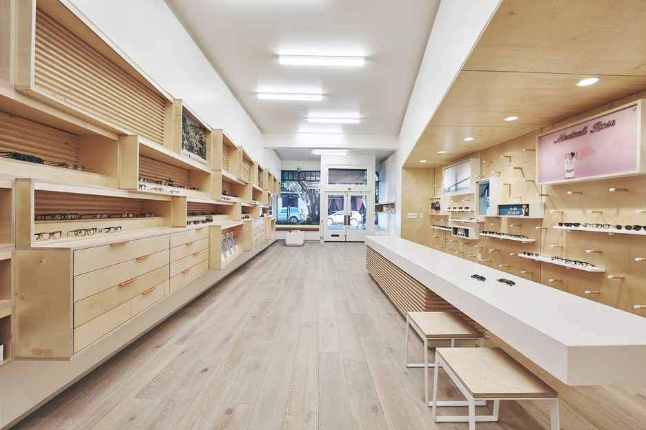 West of West pairs plywood with white surfaces for San Francisco eyewear store