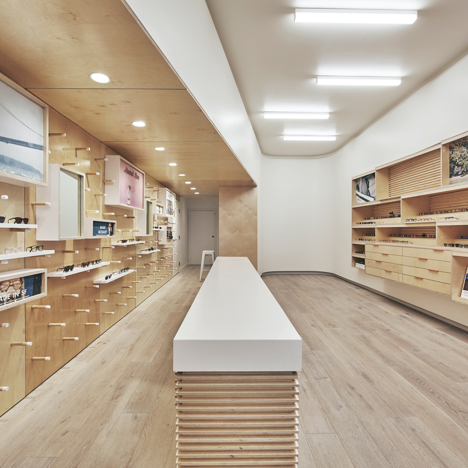 b7d9969a7c West of West pairs plywood with white surfaces for San Francisco eyewear  store