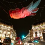 Janet Echelman's illuminated 1.8 installation billows above London's Oxford Circus