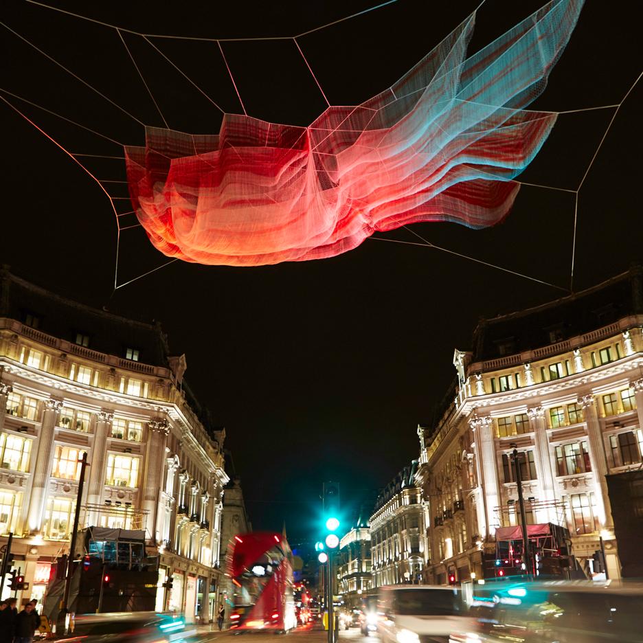 Janet Echelman 1.8 installation for Lumiere London
