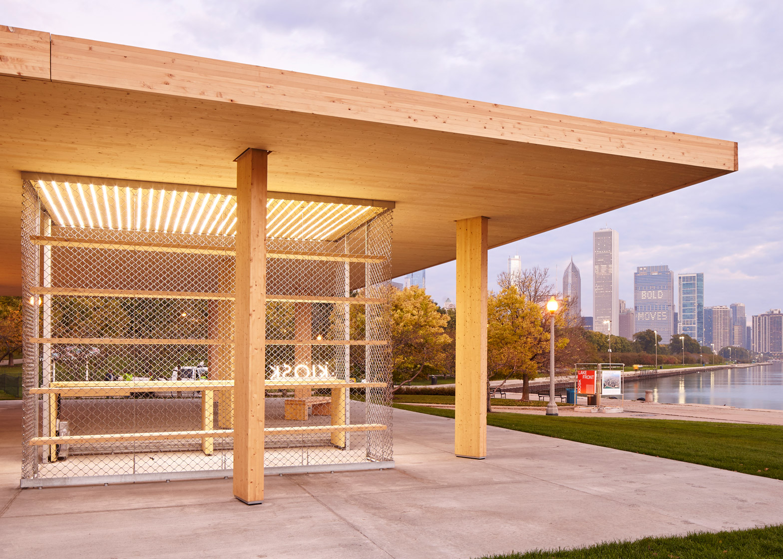 "Ultramoderne created a Mies-inspired pavilion with the ""biggest wooden roof possible"" for the 2015 Chicago Architecture Biennial. Photograph is by Tom Harris/Hedrich Blessing"