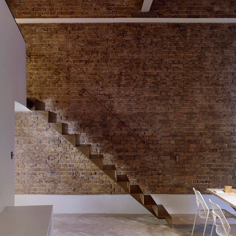 Bell Phillips installs folded steel staircase inside London home