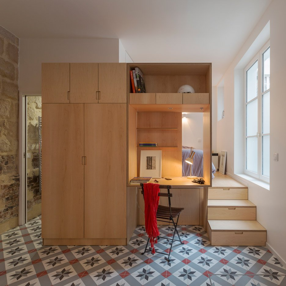 Studio apartment in Paris by Anne Rolland Architecte has a hidden converted slurry pit