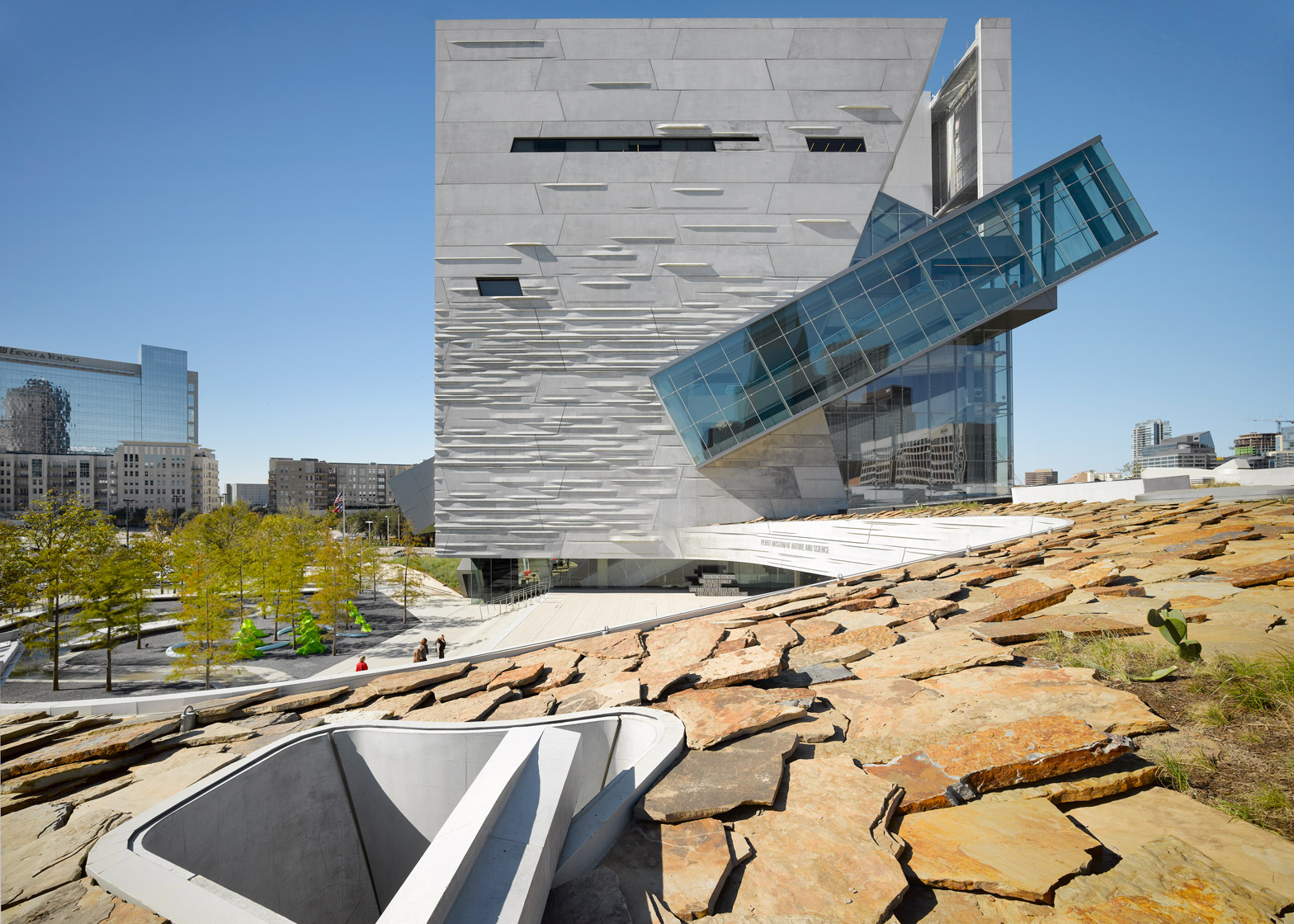 Perot Museum of Nature and Science; Dallas, Texas; by Morphosis Architects (with associate architect Good Fulton & Farrell)