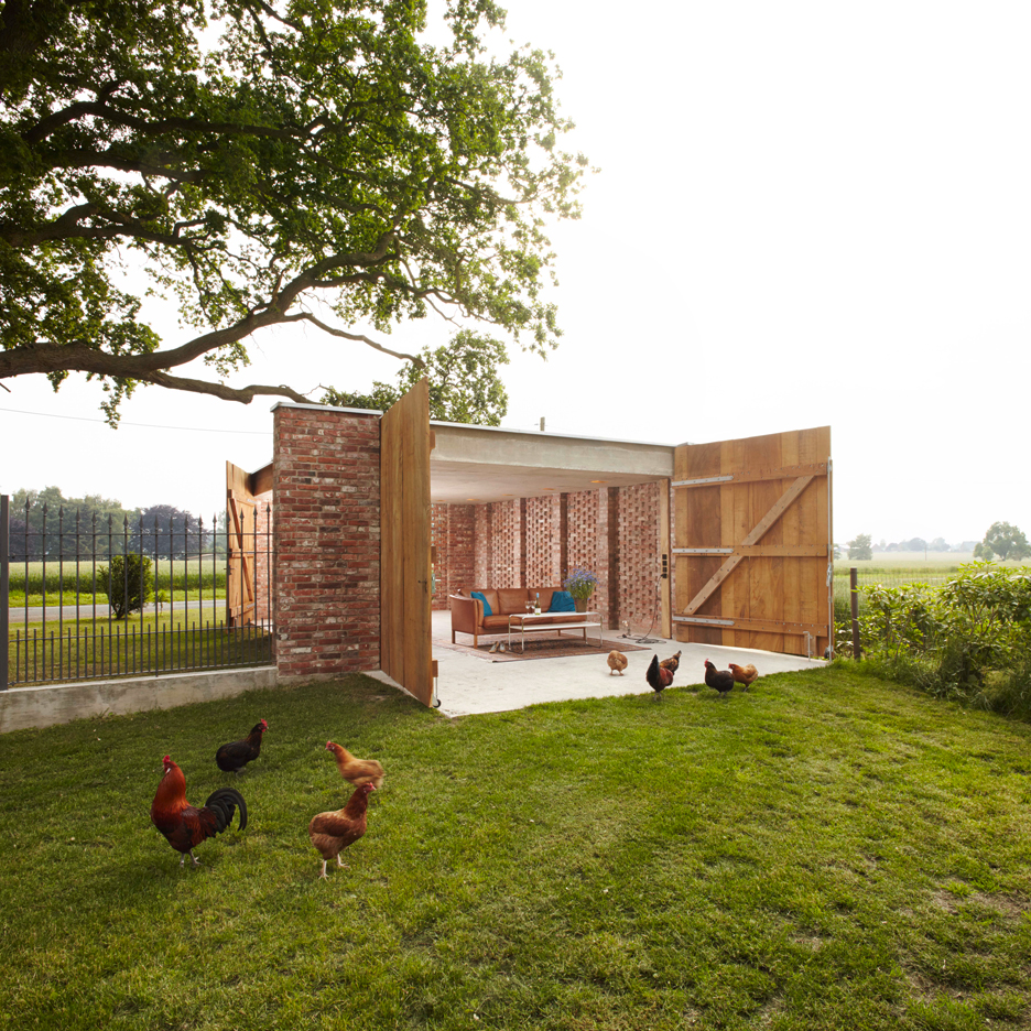 Perforated brick garage by Wirth Architekten doubles as an al-fresco dining room