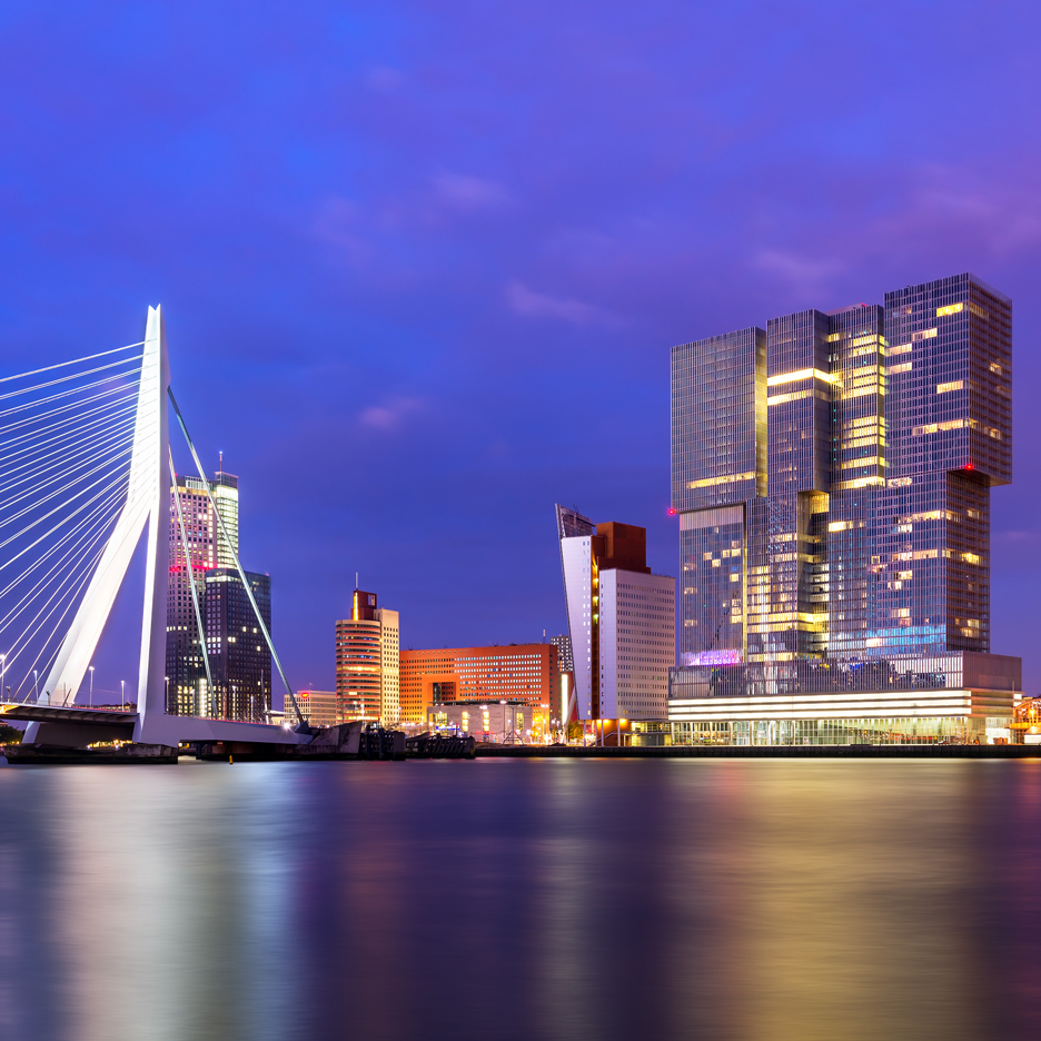 Rotterdam skyline with OMA's De Rotterdam and Ben van Berkel's Erasmus Bridge