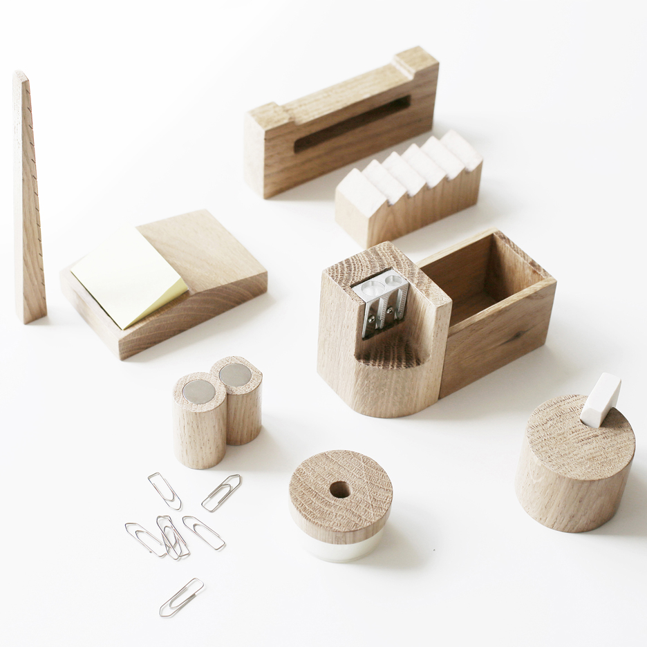 Russian Avant-Garde architecture influences wooden desk accessories