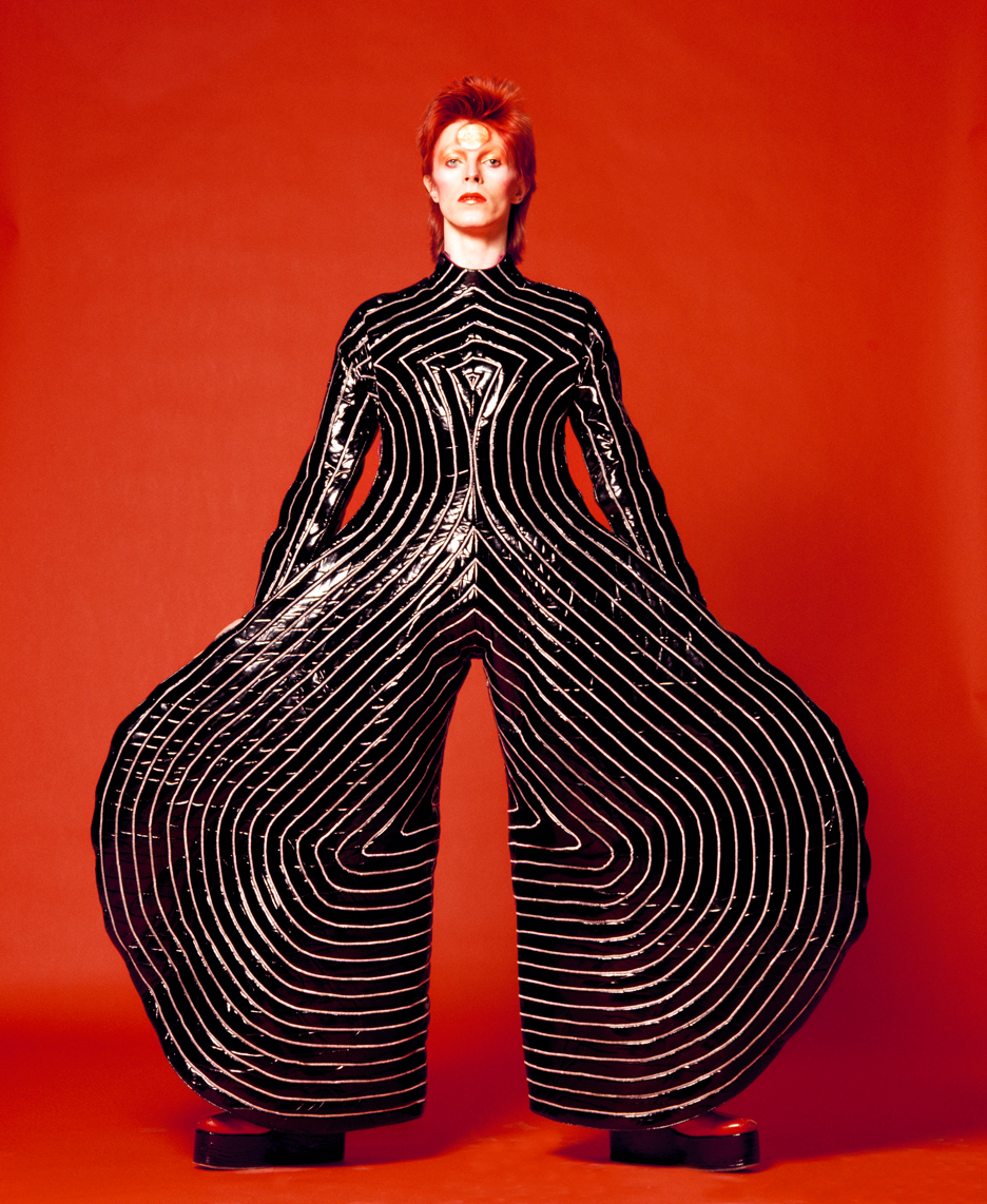 Striped bodysuit for Aladdin Sane tour designed by Kansai Yamamoto (1973), photograph by Masayoshi Sukita from The David Bowie Archive