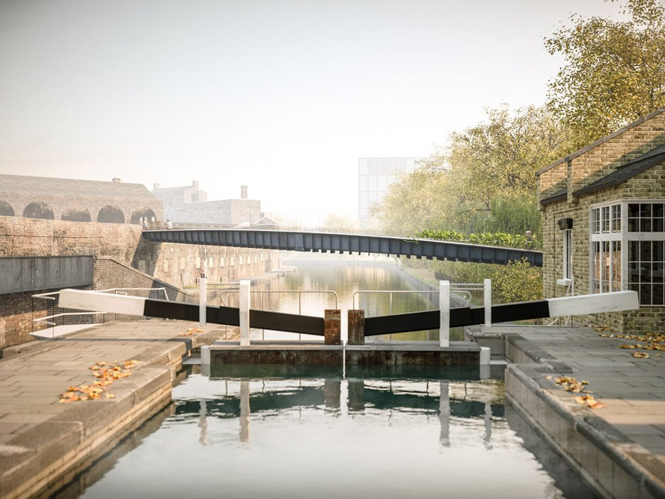 uper-thin footbridge at Kings Cross by Moxon Architects