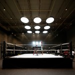 Lab100 Design Studio adds curved glass walls and mezzanine level to Kuwait boxing gym