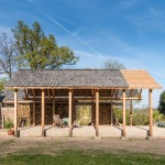 DeBossa installs split-level timber pavilion in the grounds of a Dutch mansion