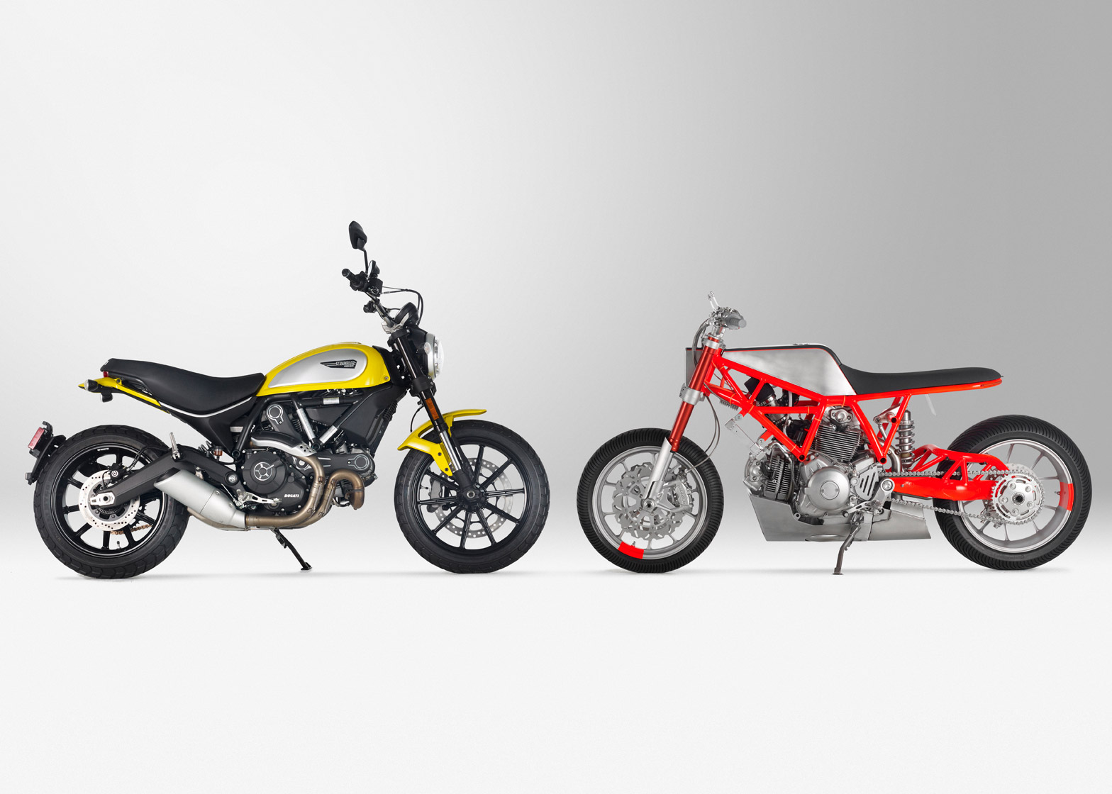 Ducati's 2015 Scrambler (left) compared to UMC-SF's customised version, the UMC-038 Marin Ducati Scrambler Icon