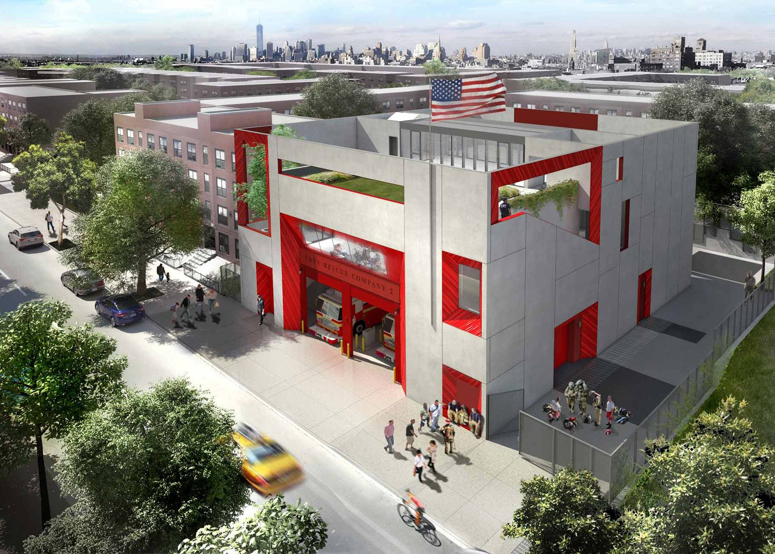 Studio Gang's Brooklyn fire station includes outdoor