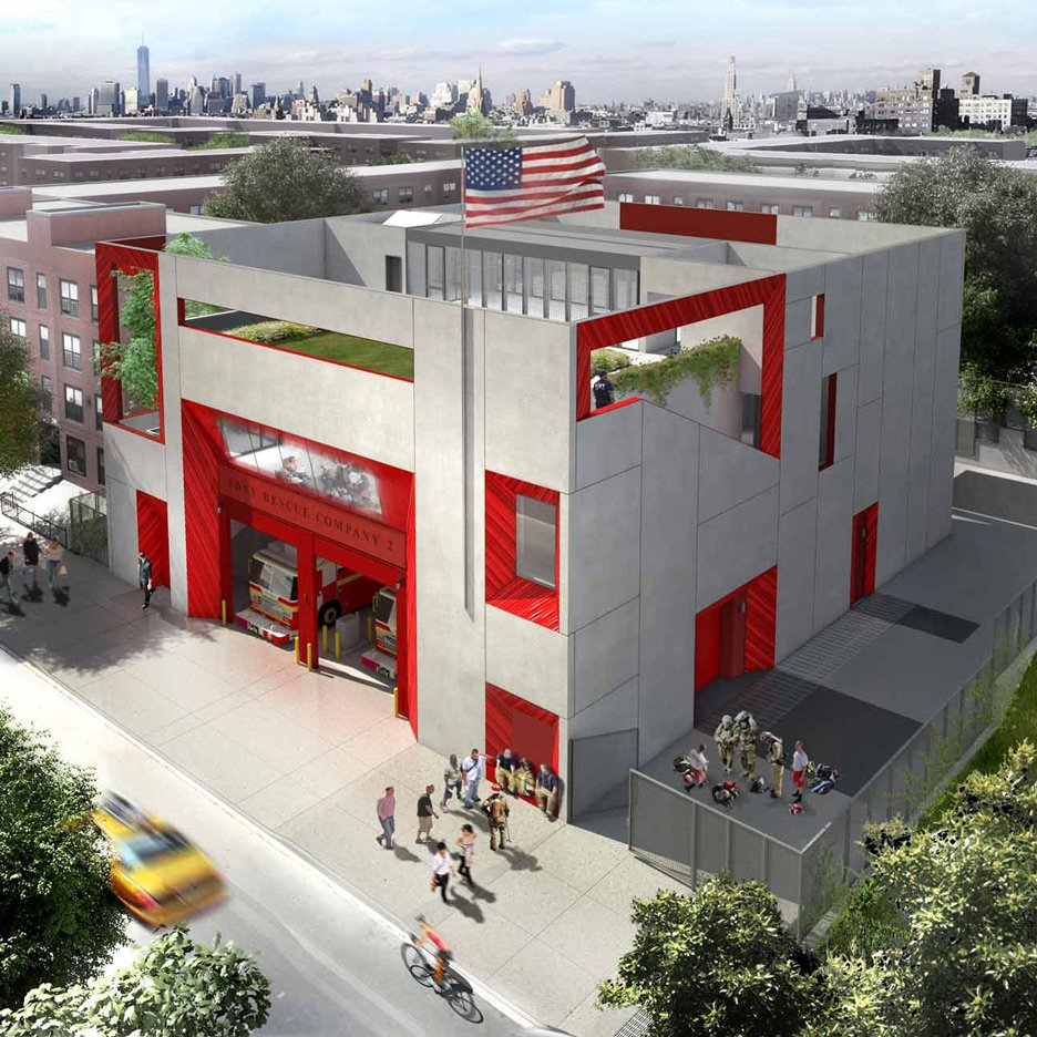 Studio Gang designs Brooklyn fire station with bright red details