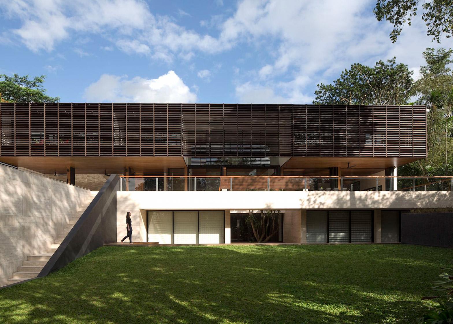 Slatted screens shade balconies at Formwerkz\u0027s Singapore residence