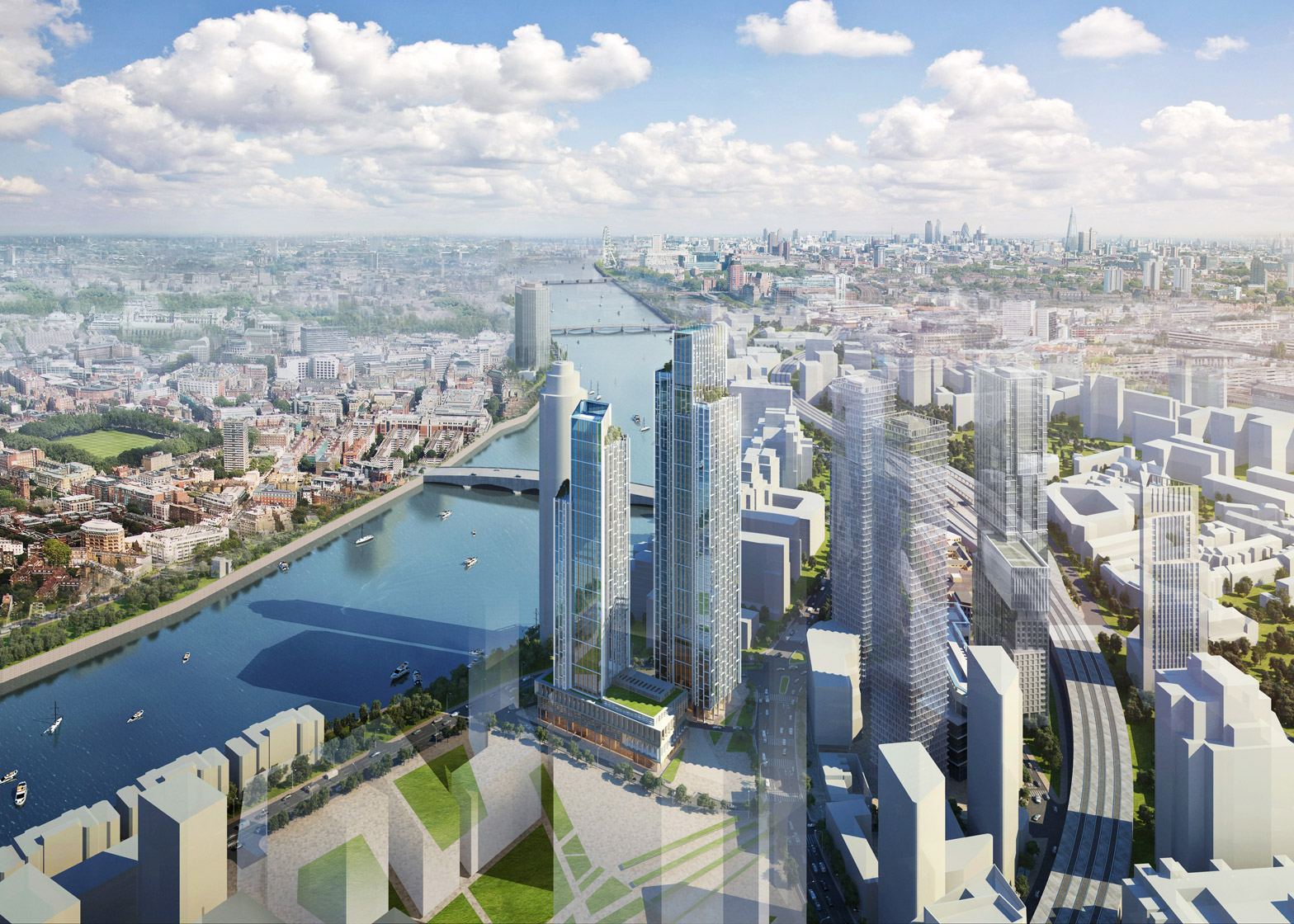 London Wanda One, design control by Wanda Commercial Planning and Research Institute. Artist impression of One Nine Elms, image courtesy KPF