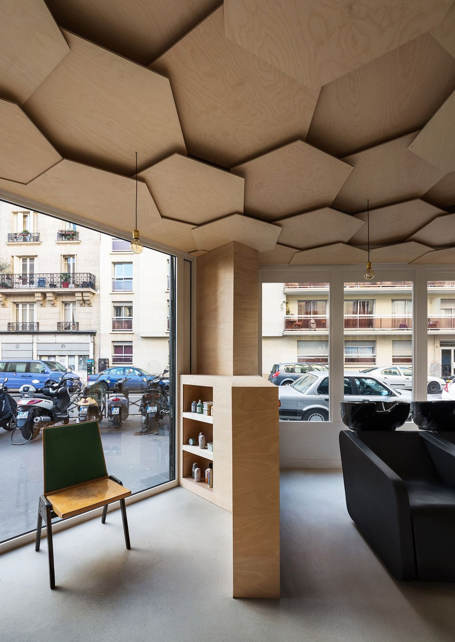Joshua Florquin adds hexagonal-patterend ceiling to Les Dada East hair salon in Paris