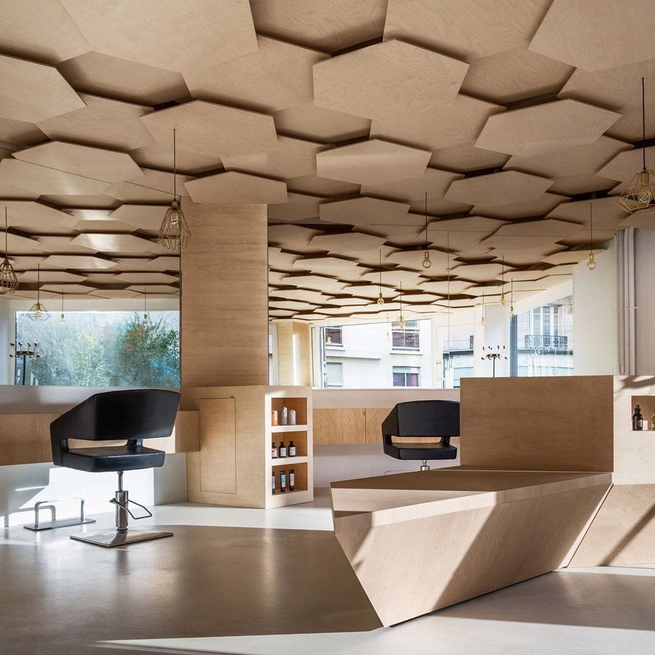 Joshua Florquin Adds Hexagonal Patterned Ceiling To Paris Hair Salon
