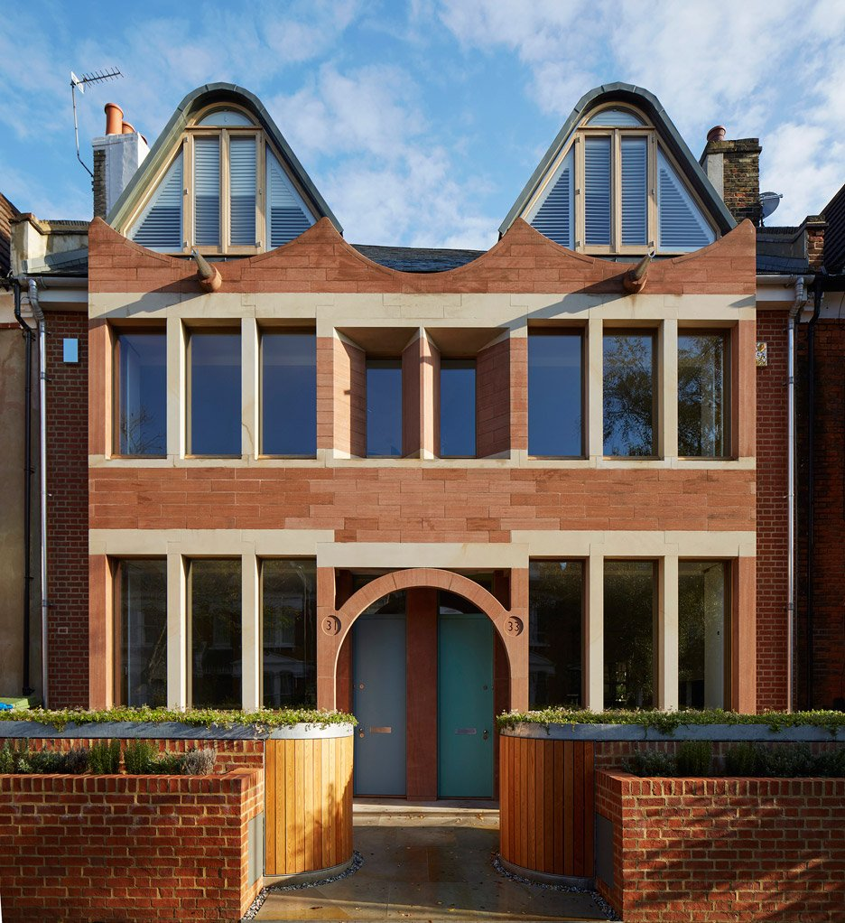 Knox Bhavan Architects completes pair of brownstone terraces in south London