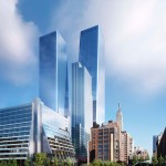 SOM reveals new images of Manhattan West skyscrapers spanning rail yards in New York City